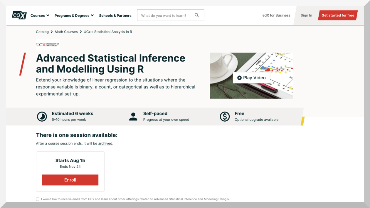 Advanced Statistical Inference and Modelling Using R – edX