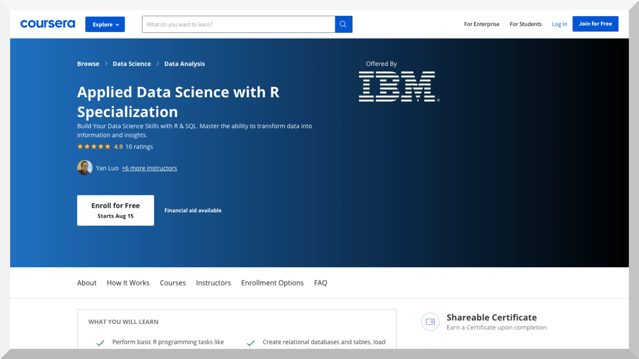 Applied Data Science with R Specialization by IBM – Coursera