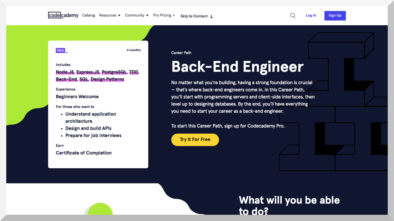 Back-End Engineer Certificate Course – Codecademy