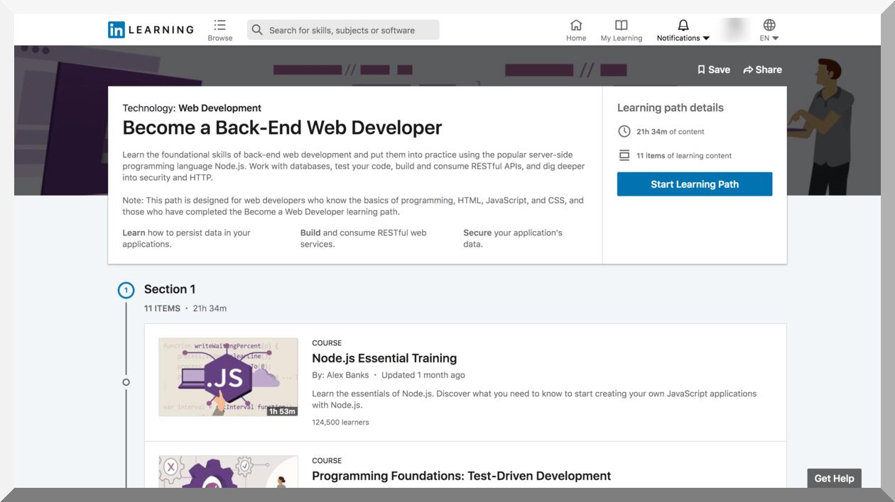 Become a Back-End Web Developer – LinkedIn Learning