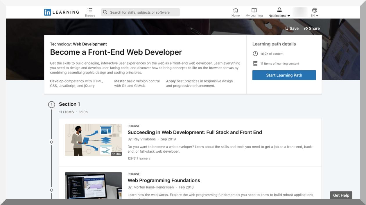 Become a Front-End Web Developer – LinkedIn Learning