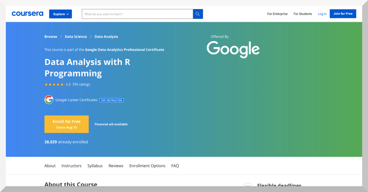 Data Analysis with R Programming by Google – Coursera