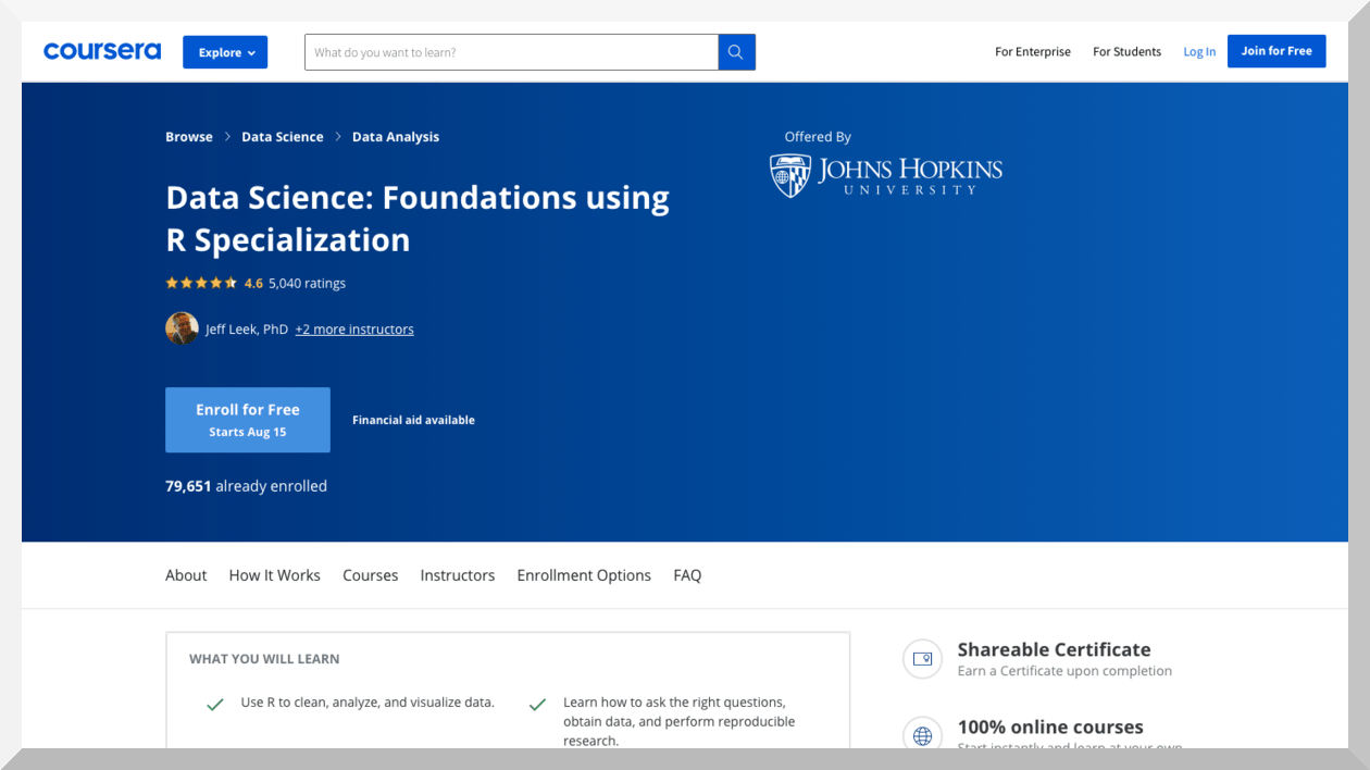 Data Science- Foundations using R Specialization by John Hopkins University – Coursera