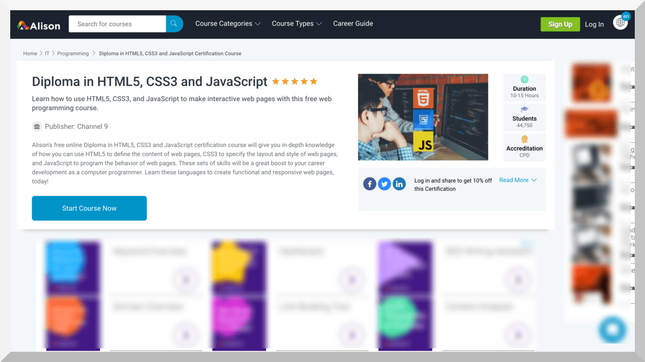Diploma in HTML5, CSS3 and JavaScript – Alison