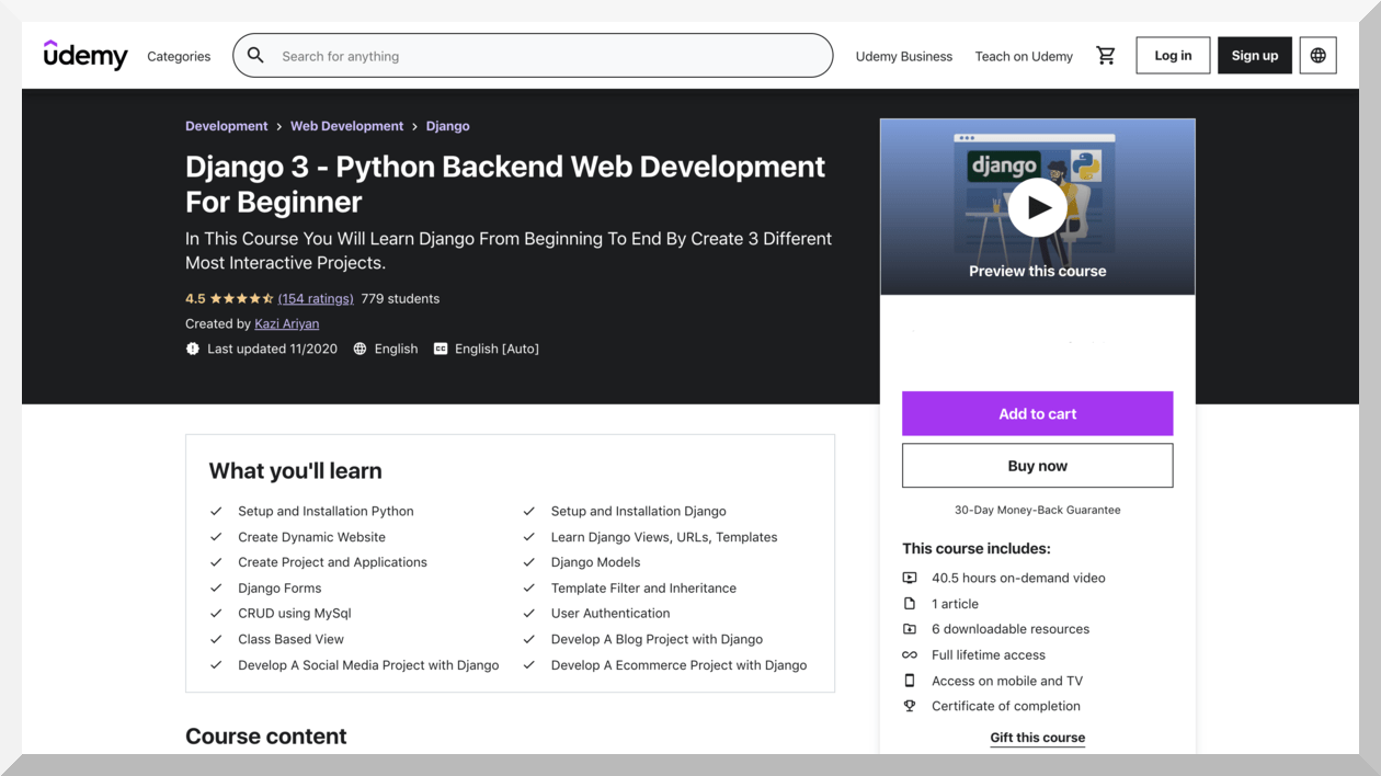 Django 3- Python Backend Web Development for Beginner – Udemy
