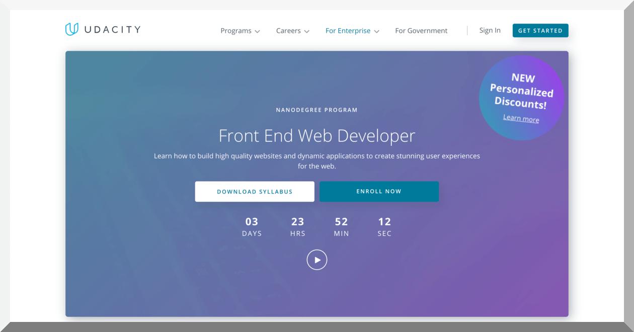Front-end Web Developer Nanodegree Program – Udacity