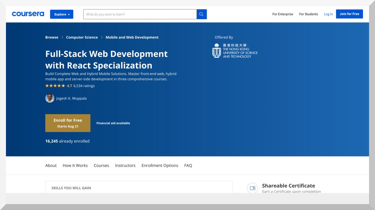 Full-Stack Web Development with React Specialization – Coursera