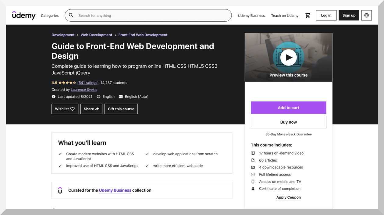 Guide to Front-End Web Development and Design – Udemy