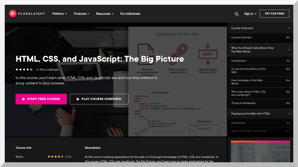 HTML, CSS, and JavaScript- The Big Picture – Pluralsight