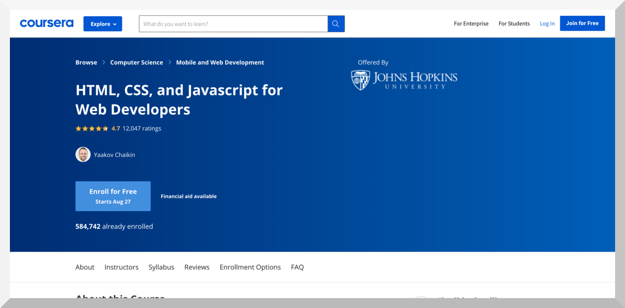 HTML, CSS and JavaScript for Web Developers by John Hopkins University – Coursera