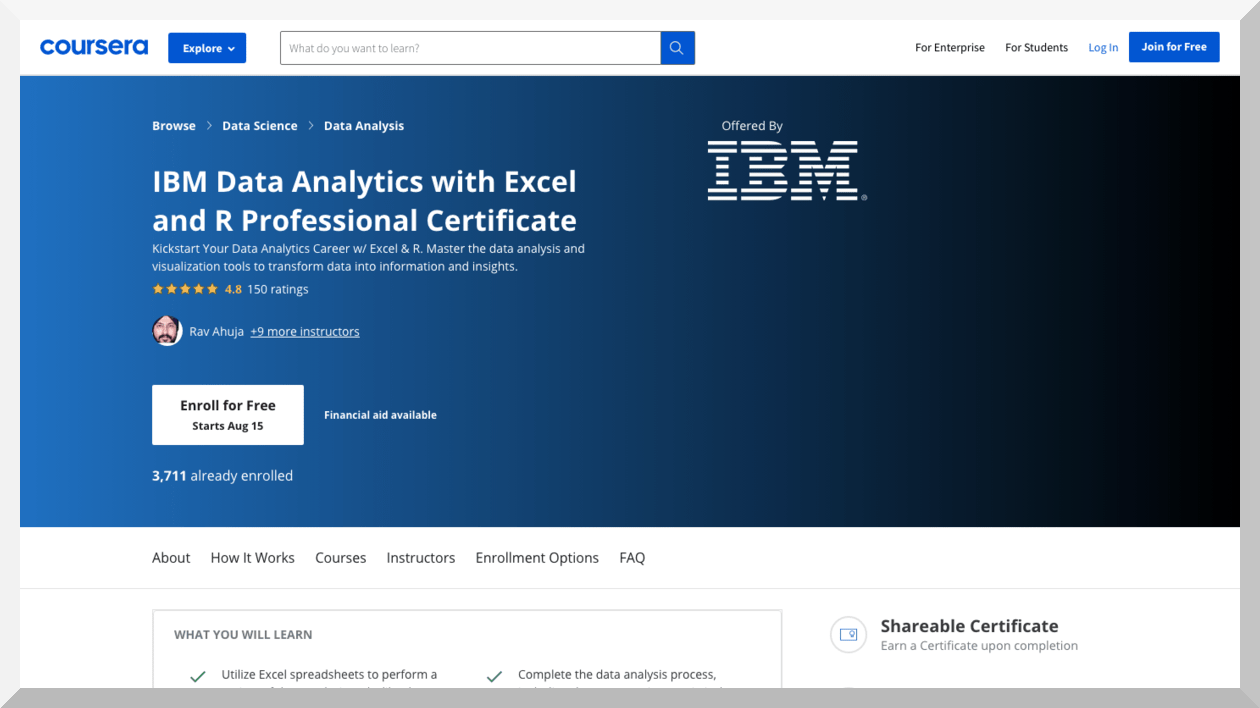 IBM Data Analytics with Excel and R Professional Certificate – Coursera