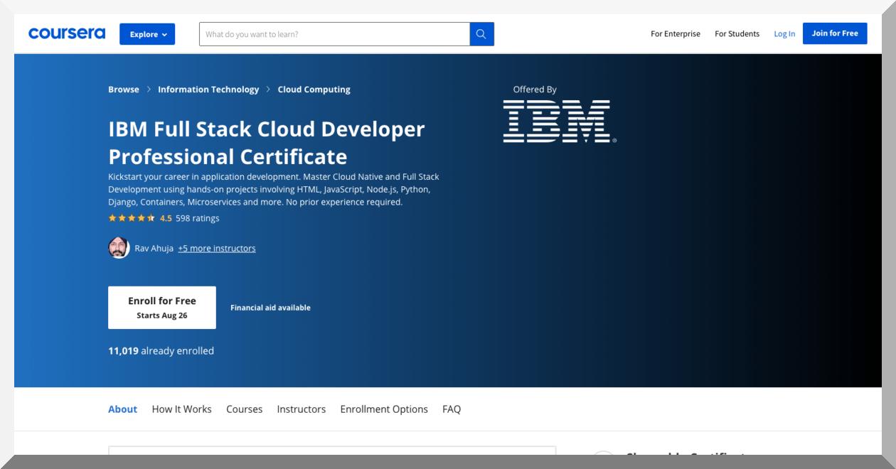 IBM Full Stack Cloud Developer Professional Certificate – Coursera