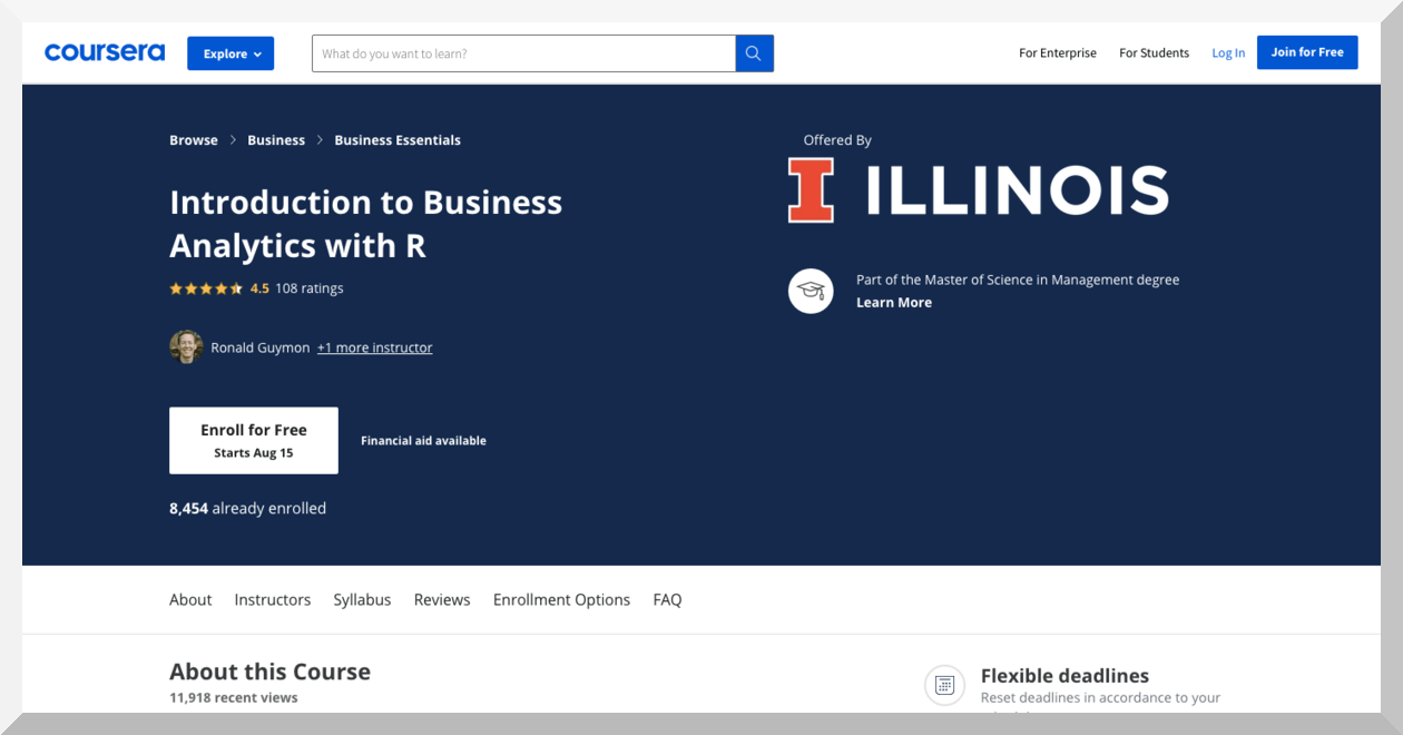 Introduction to Business Analytics with R by the University of Illinois – Coursera