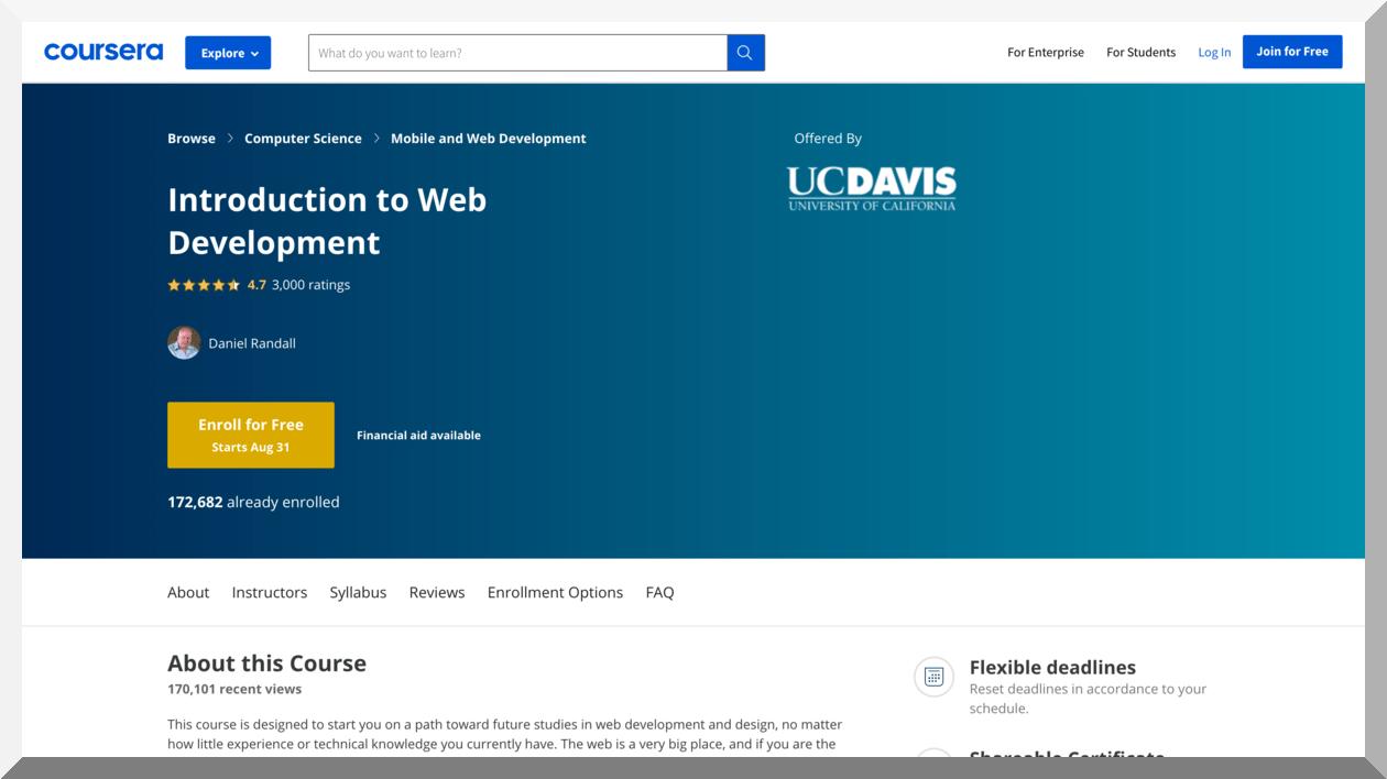 Introduction to Web Development by UC Davis – Coursera