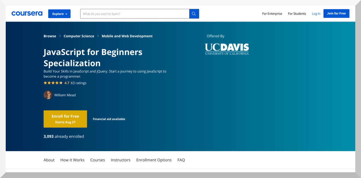 JavaScript for Beginners Specialization by UC Davis – Coursera