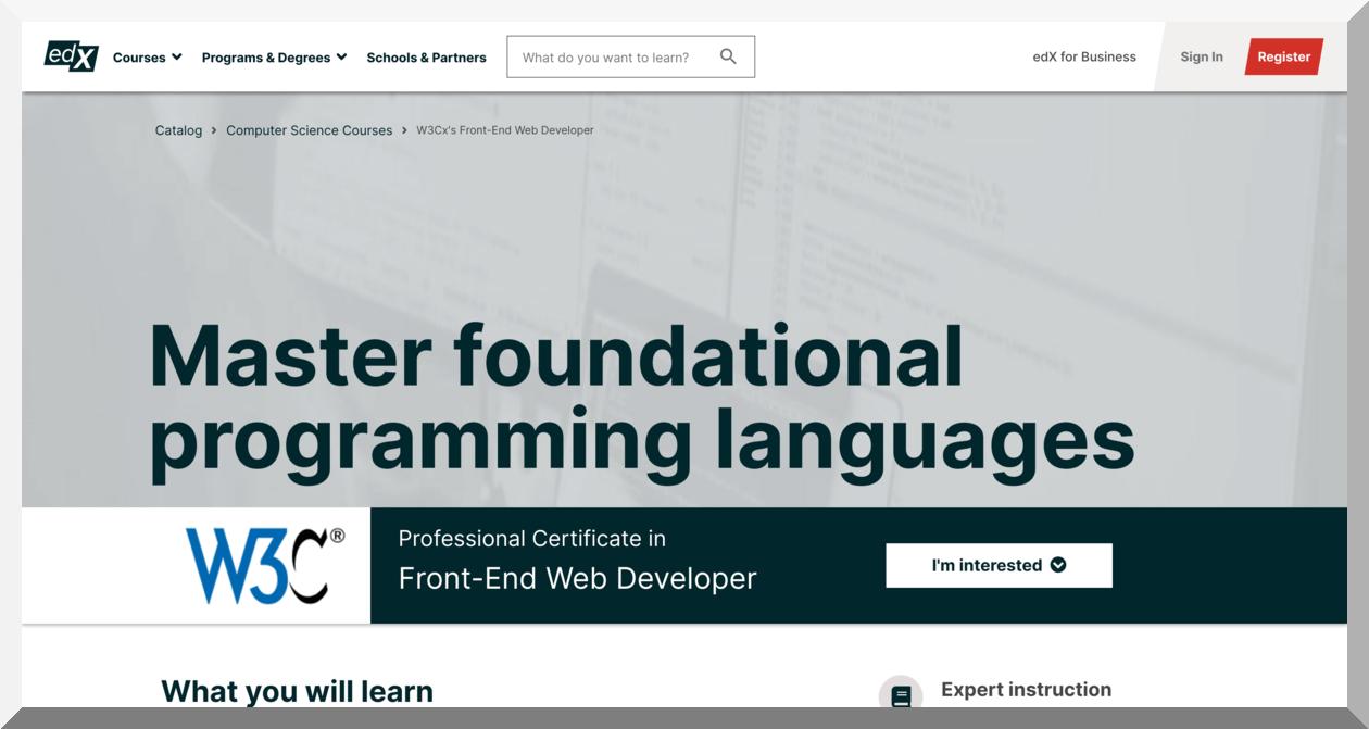 Professional Certificate in Front-End Web Developer by W3C – edX