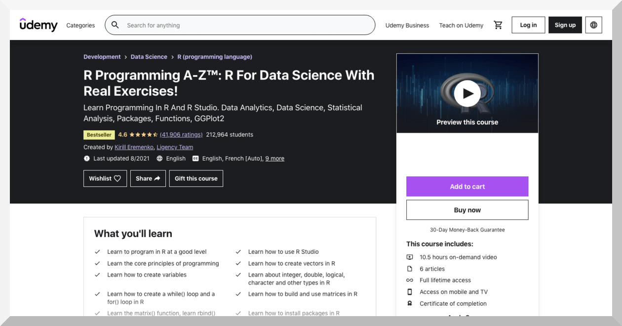 R Programming A-Z- R for Data Science with Real Exercises – Udemy
