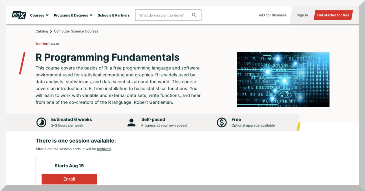 R Programming Fundamentals by Stanford – edX