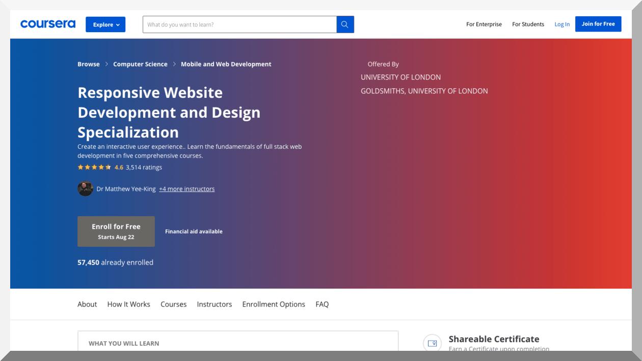 Responsive Website Development and Design Specialization – Coursera