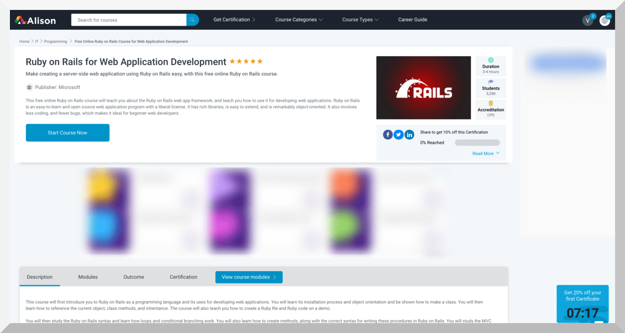 Ruby on Rails for Web Application Development by Microsoft – Alison