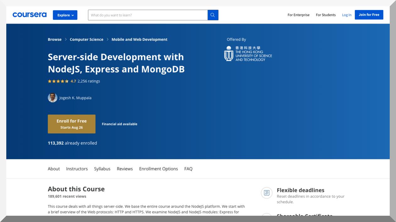 Server-side Development with NodeJS, Express, and MongoDB – Coursera