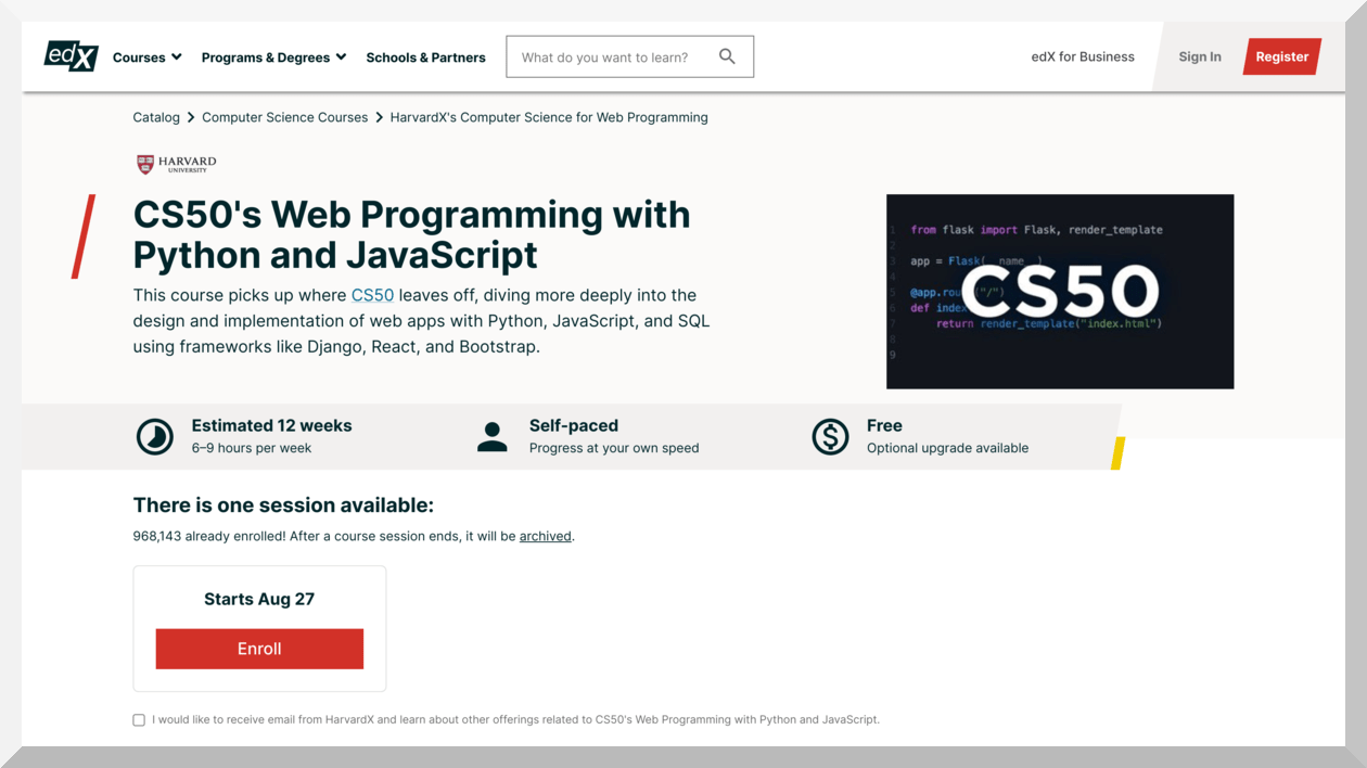 Web Programming with Python and JavaScript by Harvard University – edX