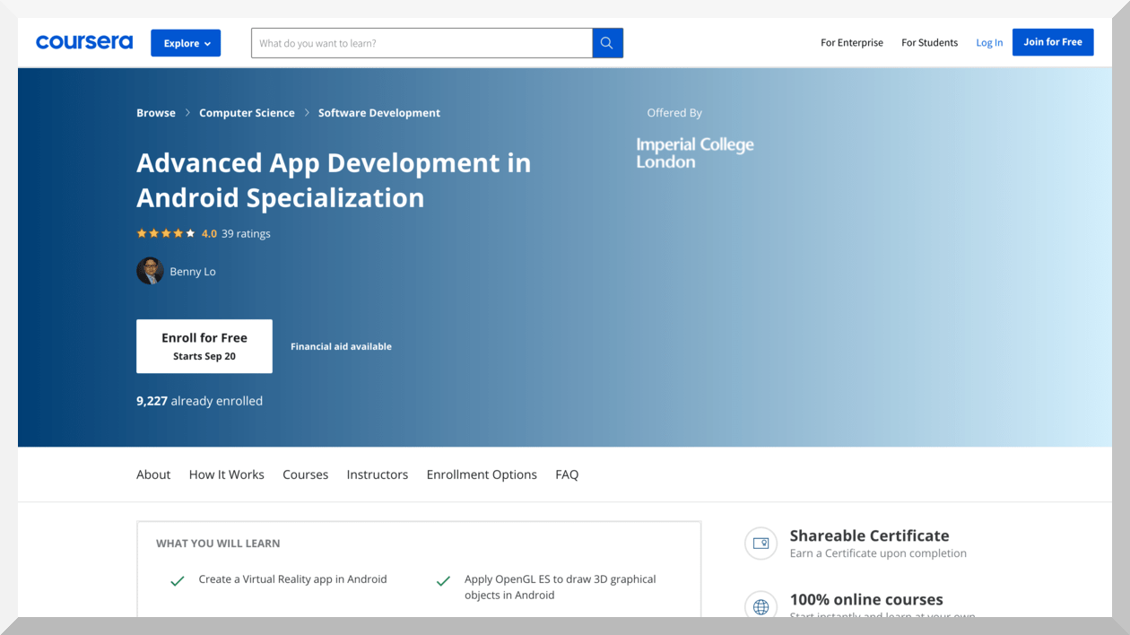 Advanced App Development in Android Specialization by Imperial College London – Coursera