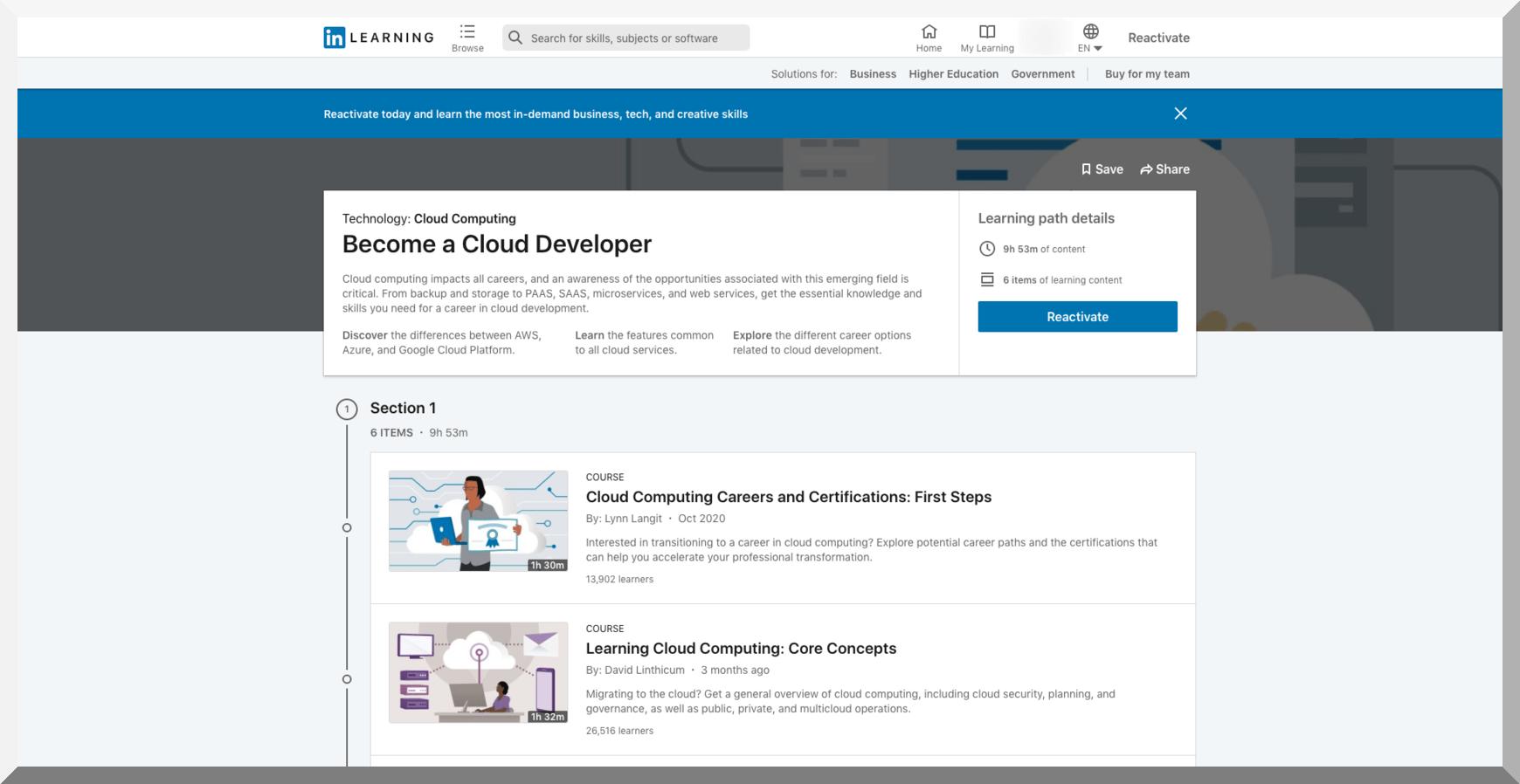 Become a Cloud Developer – LinkedIn Learning
