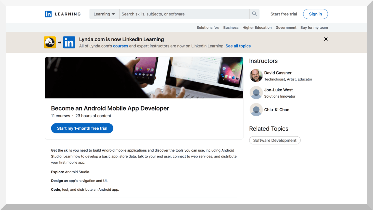 Become an Android Mobile App Developer – LinkedIn Learning
