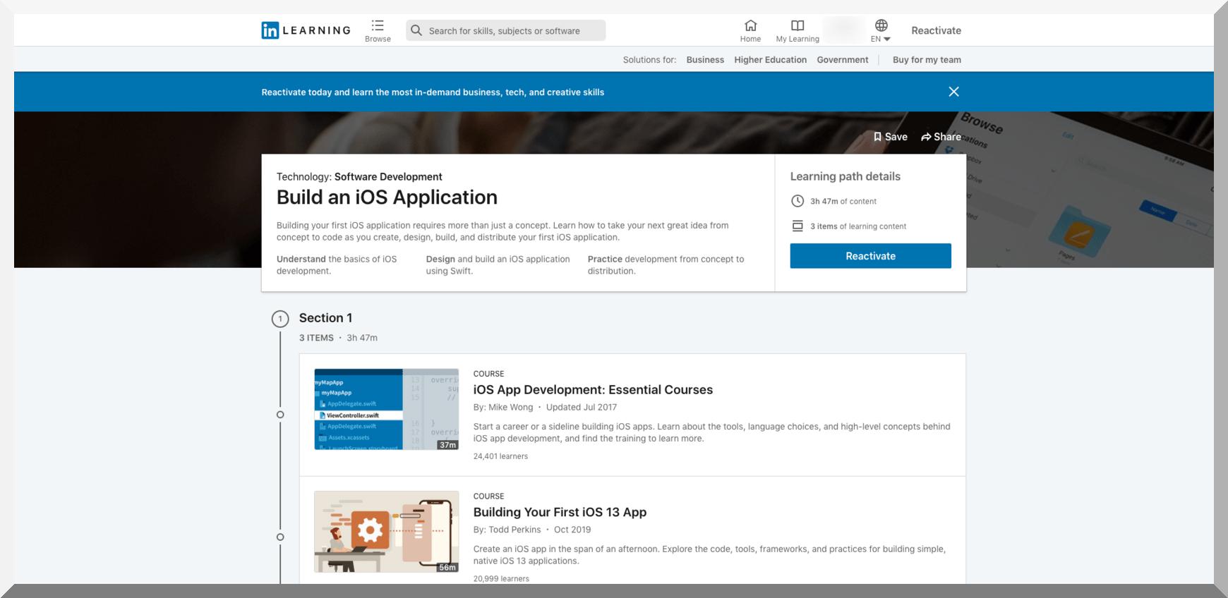 Build an iOS Application – LinkedIn Learning