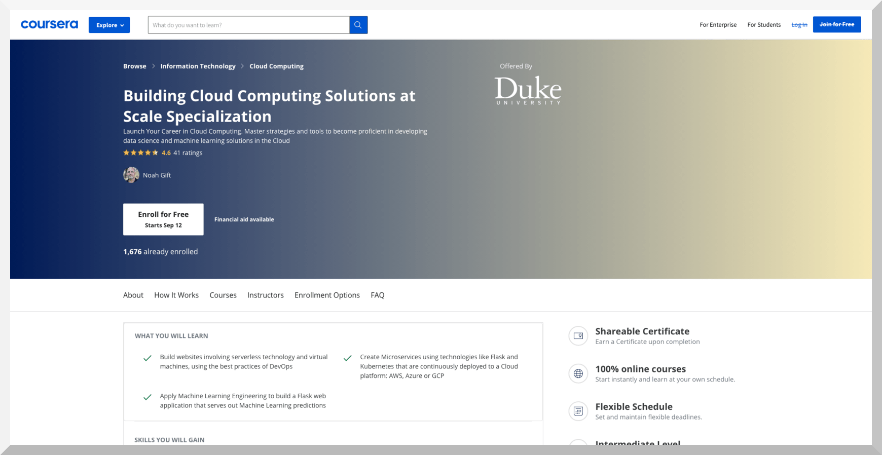 Building Cloud Computing Solutions at Scale Specialization – Coursera