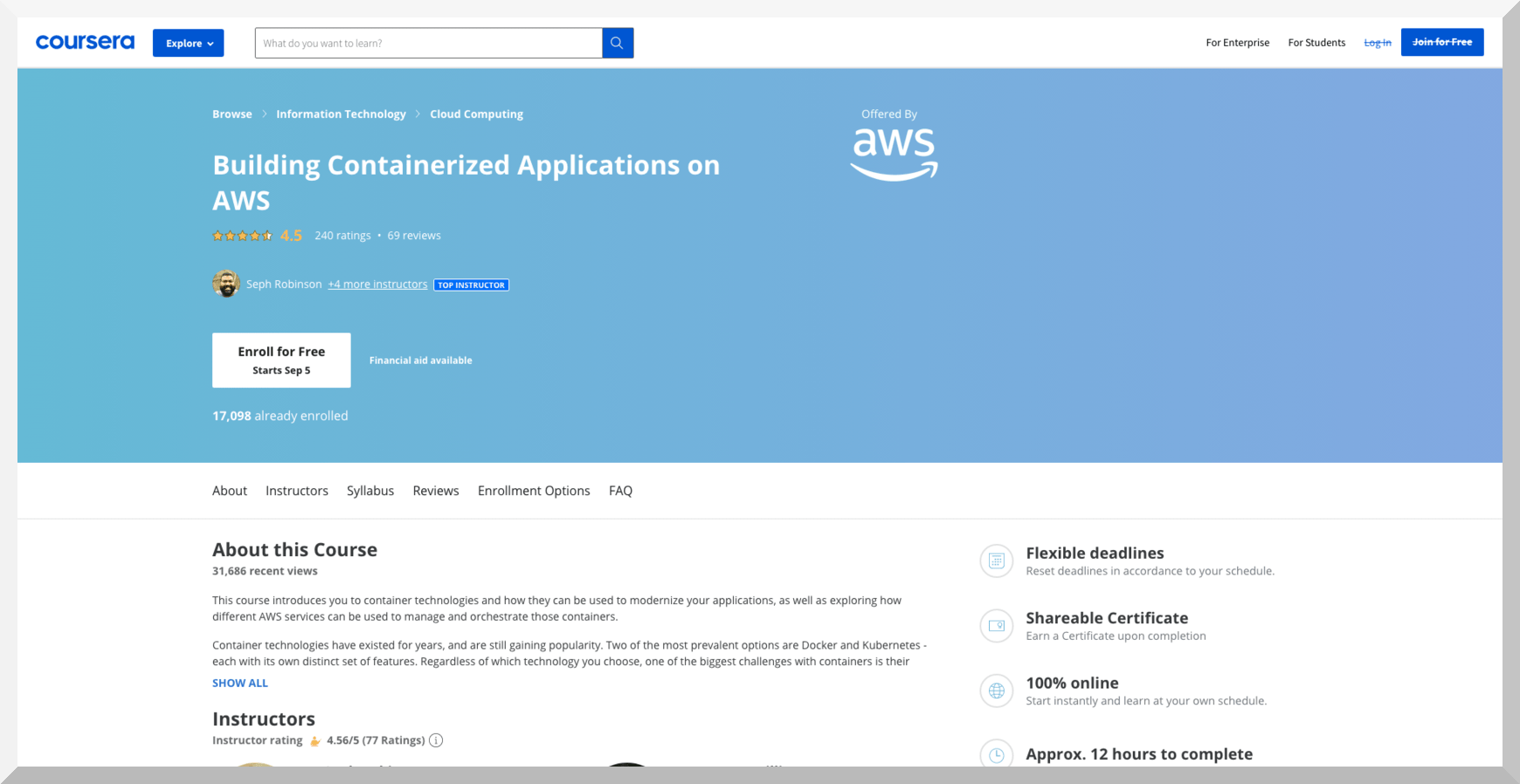 Building Containerized Applications on AWS – Coursera