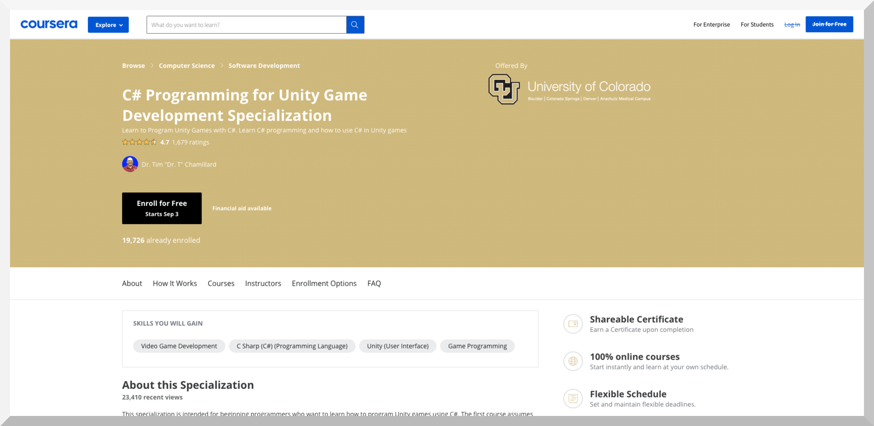 C# Programming for Unity Game Development Specialization by University of Colorado – Coursera