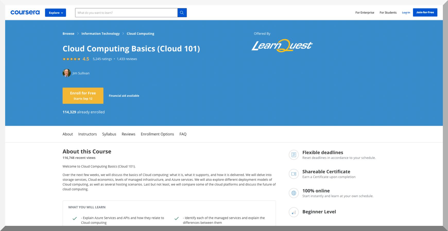 Cloud Computing Basics (Cloud 101) – Coursera