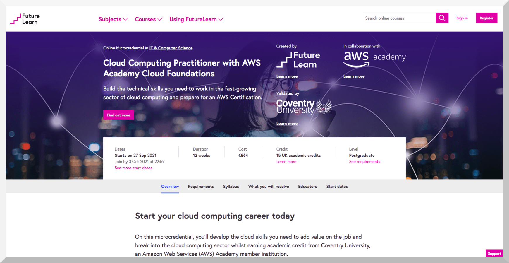 Cloud Computing Practitioner with AWS Academy Cloud Foundations – FutureLearn