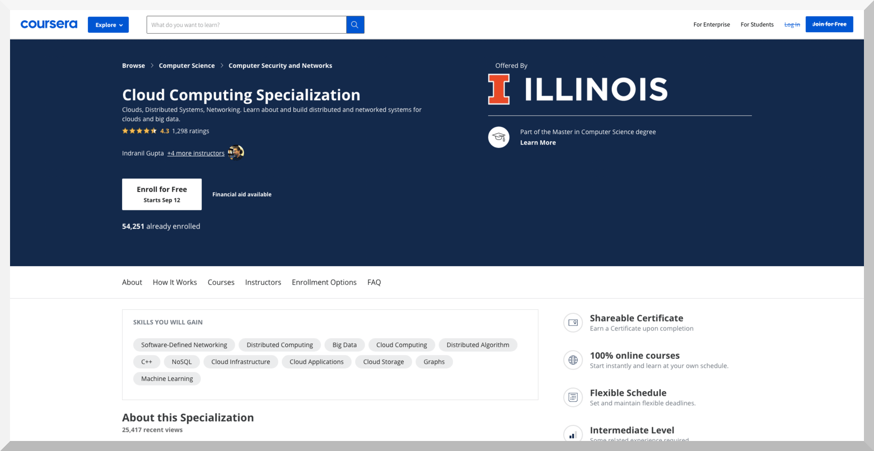 Cloud Computing Specialization by University of Illinois – Coursera