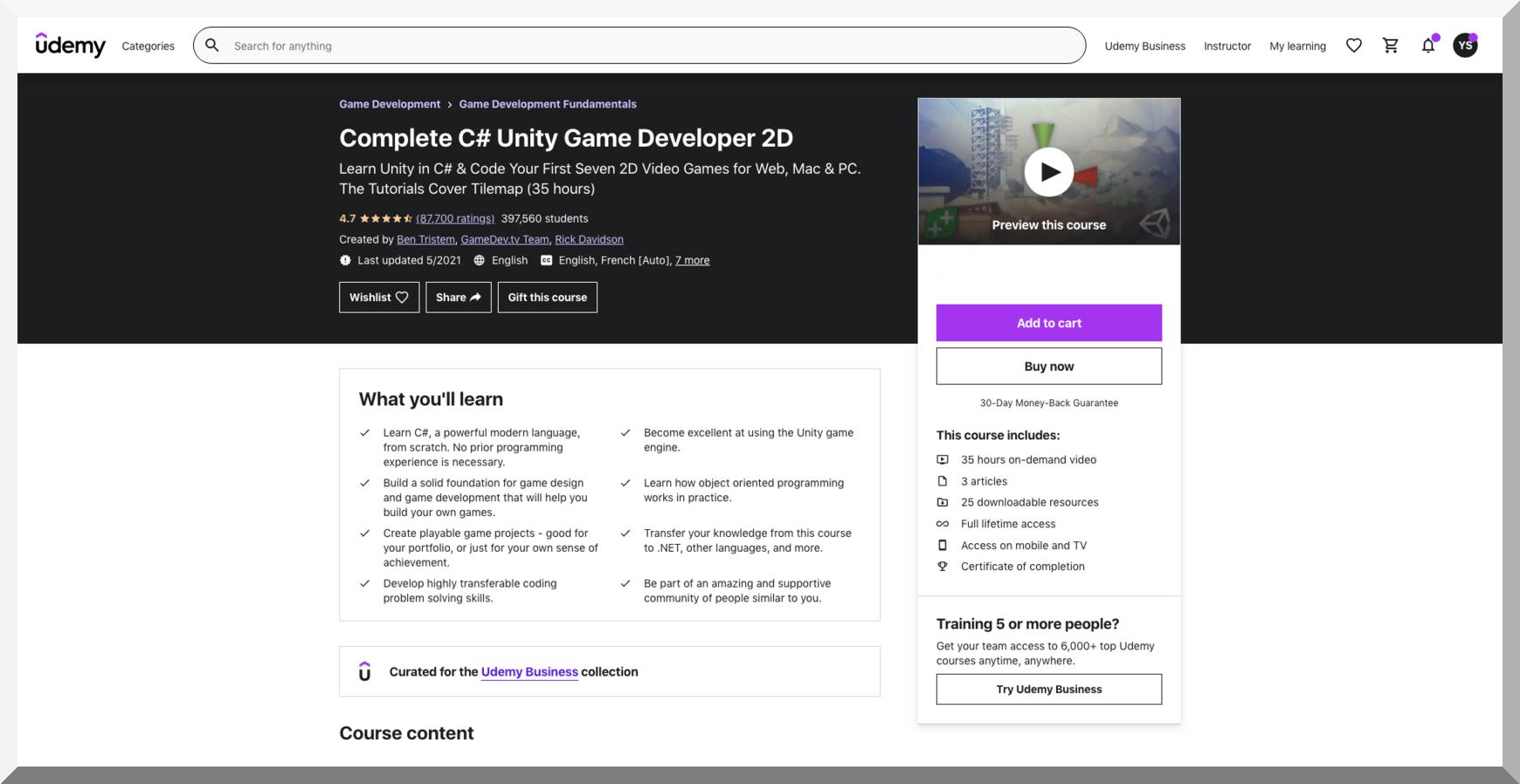 Complete C# Unity Game Developer 2D – Udemy