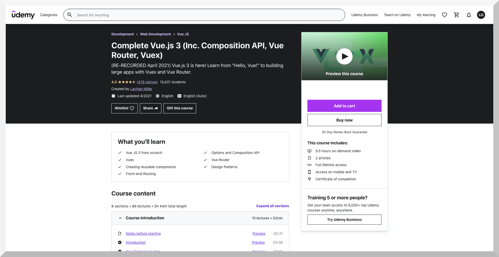 Complete Vue.js 3 (Inc. Composition API, Vue Router, Vuex) – Udemy