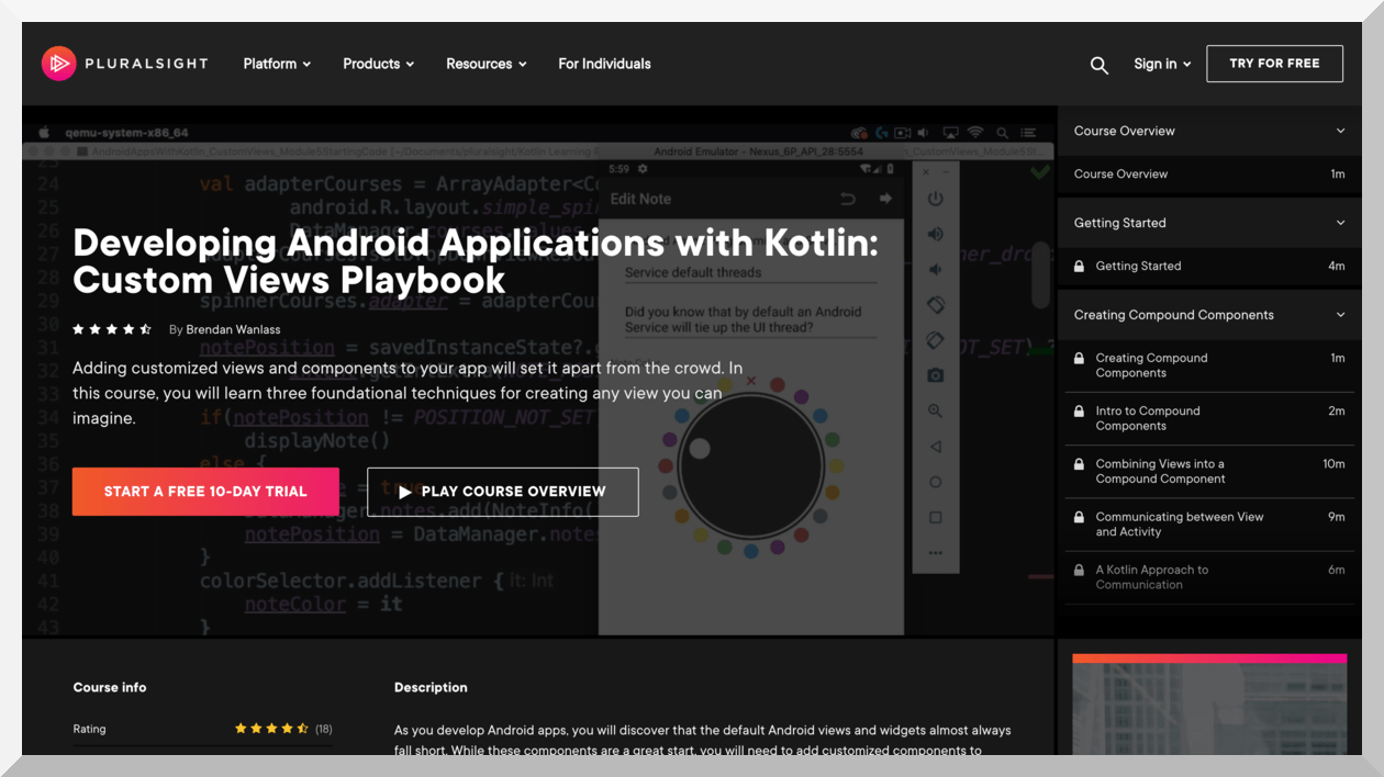 Developing Android Applications with Kotlin – Pluralsight