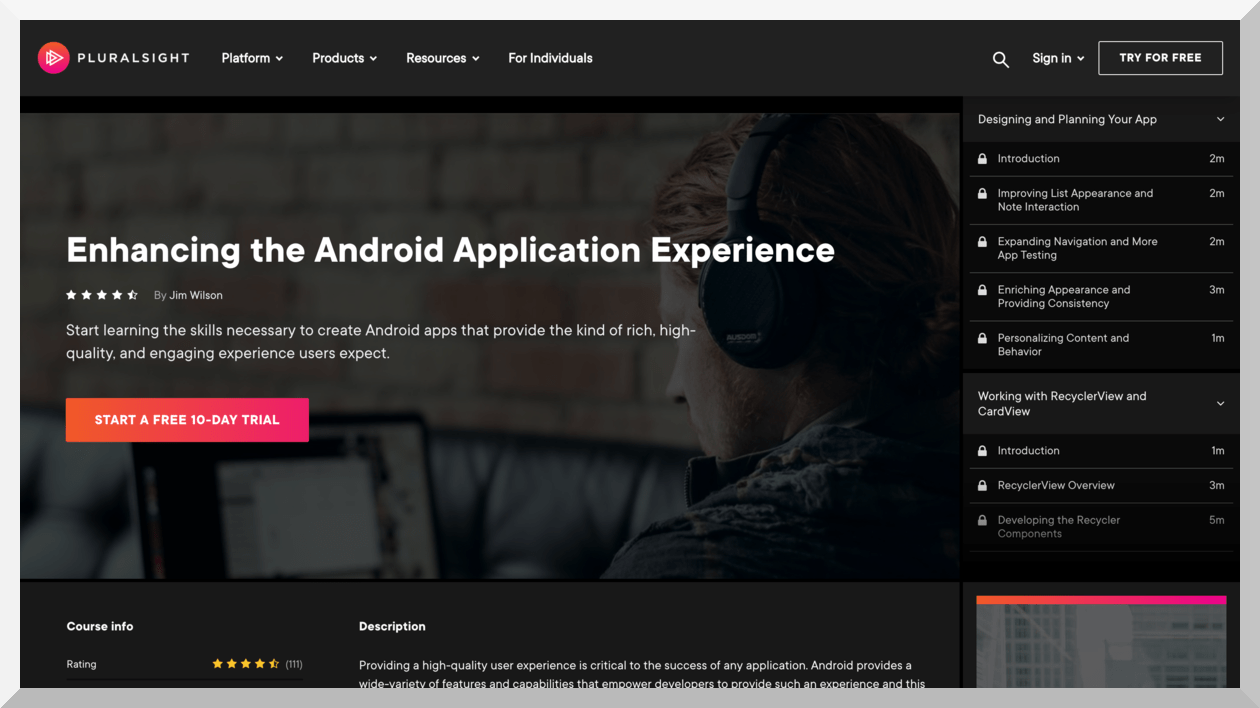 Enhancing the Android Application Experience – Pluralsight