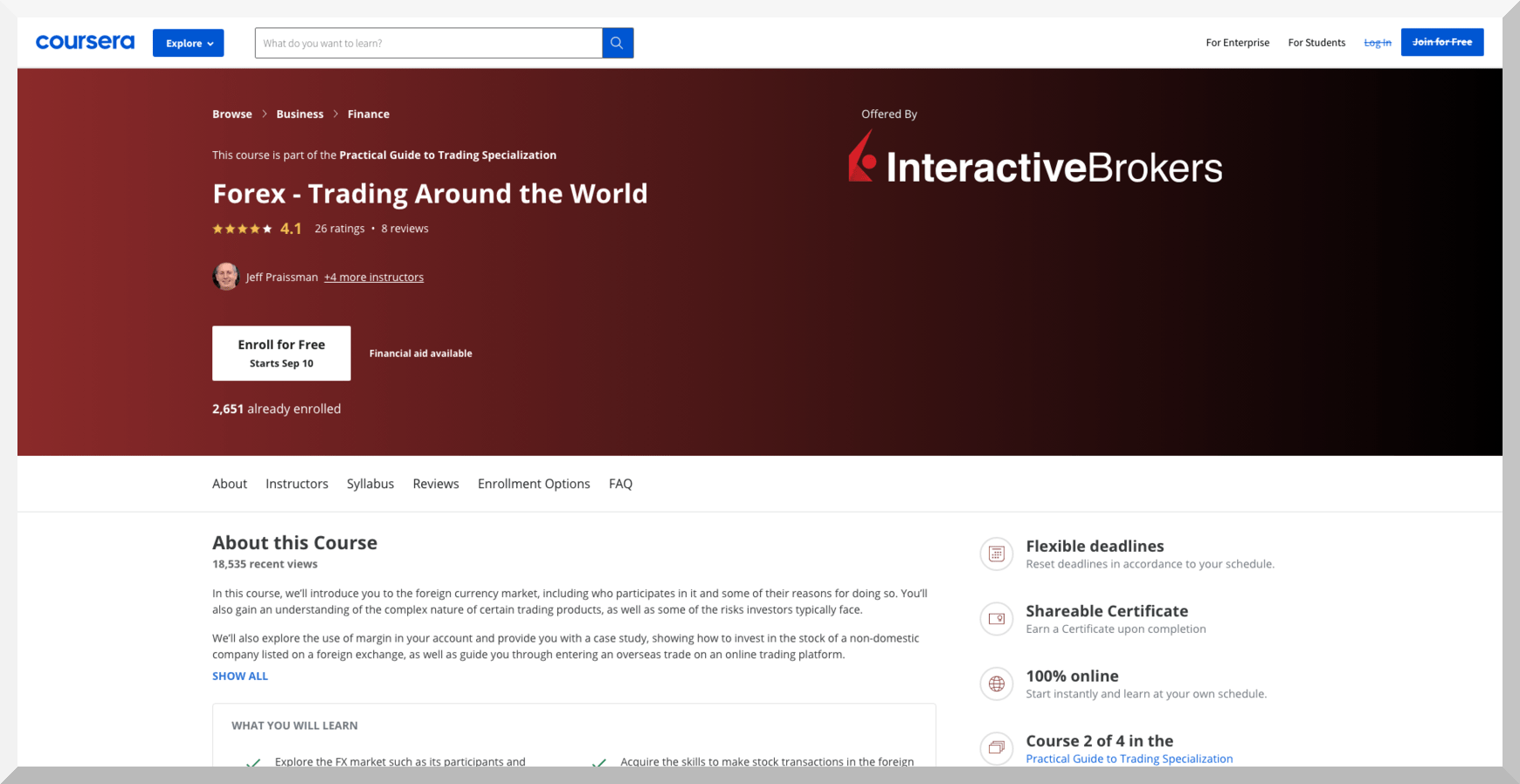 Forex – Trading Around the World – Coursera