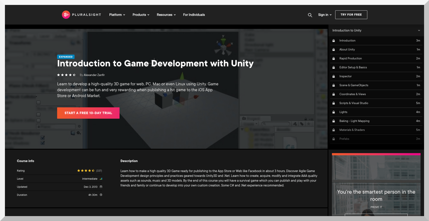 Introduction to Game Development with Unity – Pluralsight