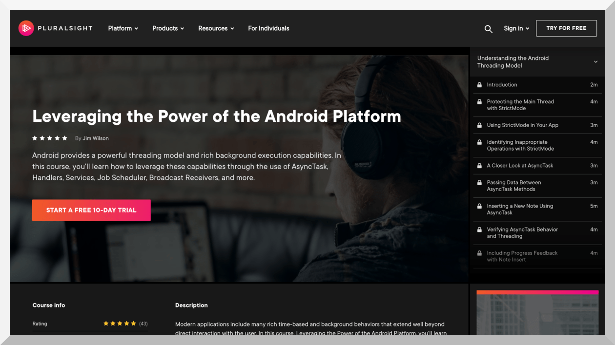 Leveraging the Power of Android Platform – Pluralsight