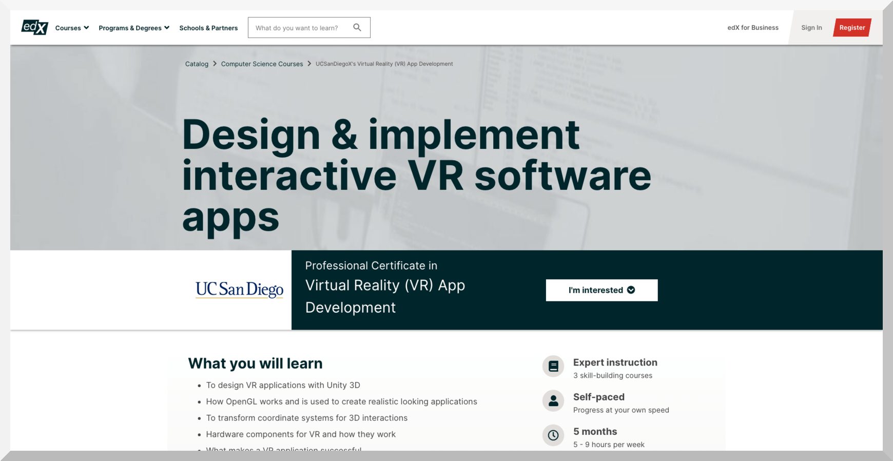 Professional Certificate in Virtual Reality App Development by UC San Diego – edX