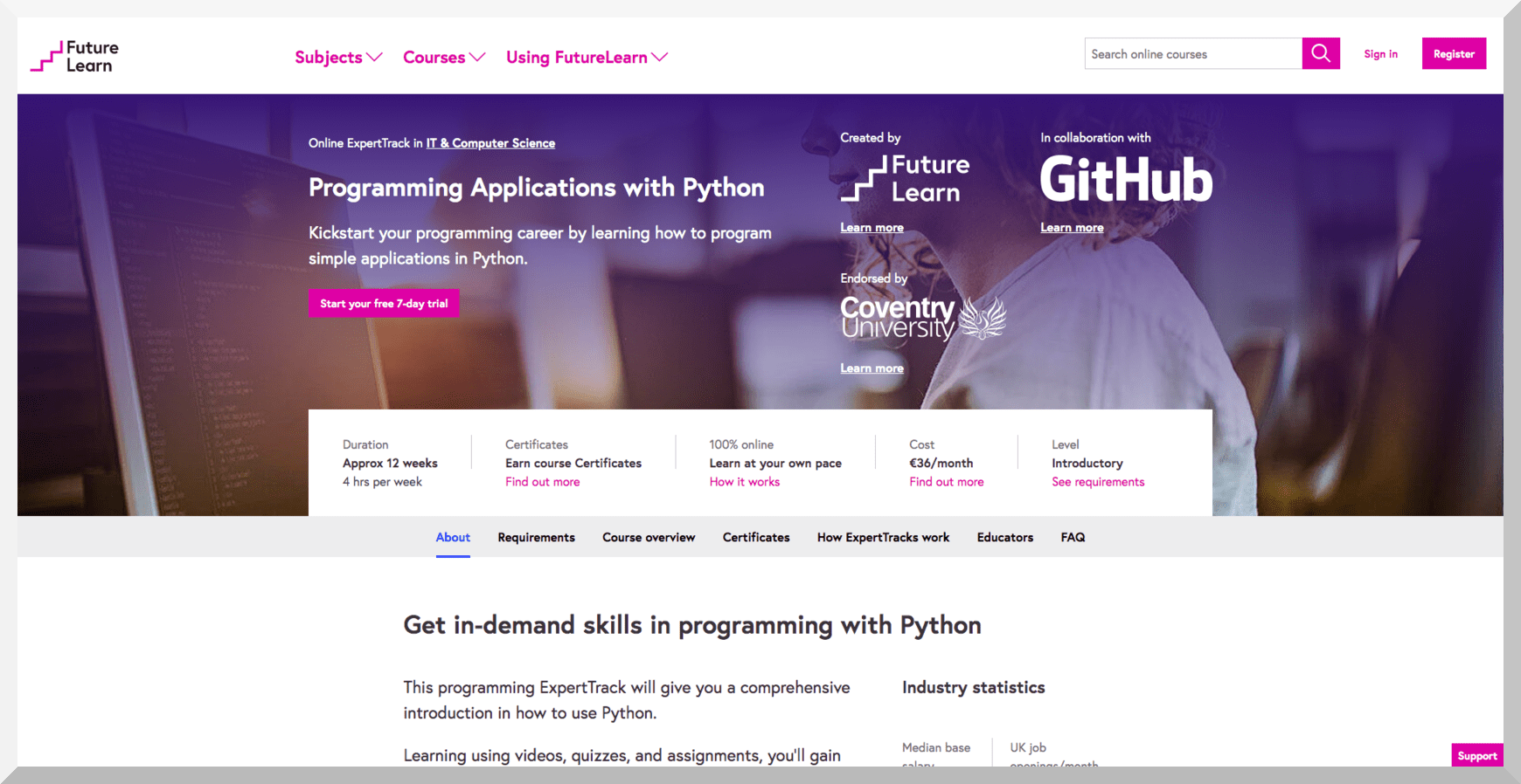 Programming Applications with Python by Coventry University – Futurelearn