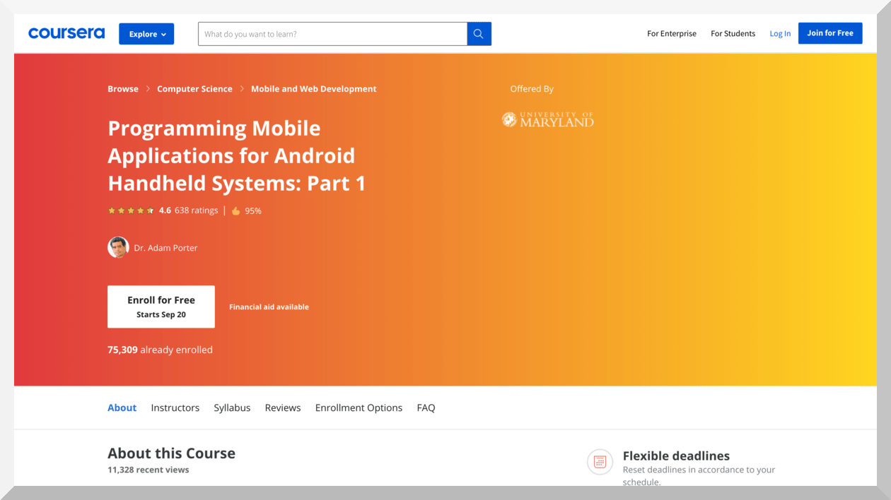 Programming Mobile Applications for Android Handheld Systems- Part 1 and Part 2 – Coursera