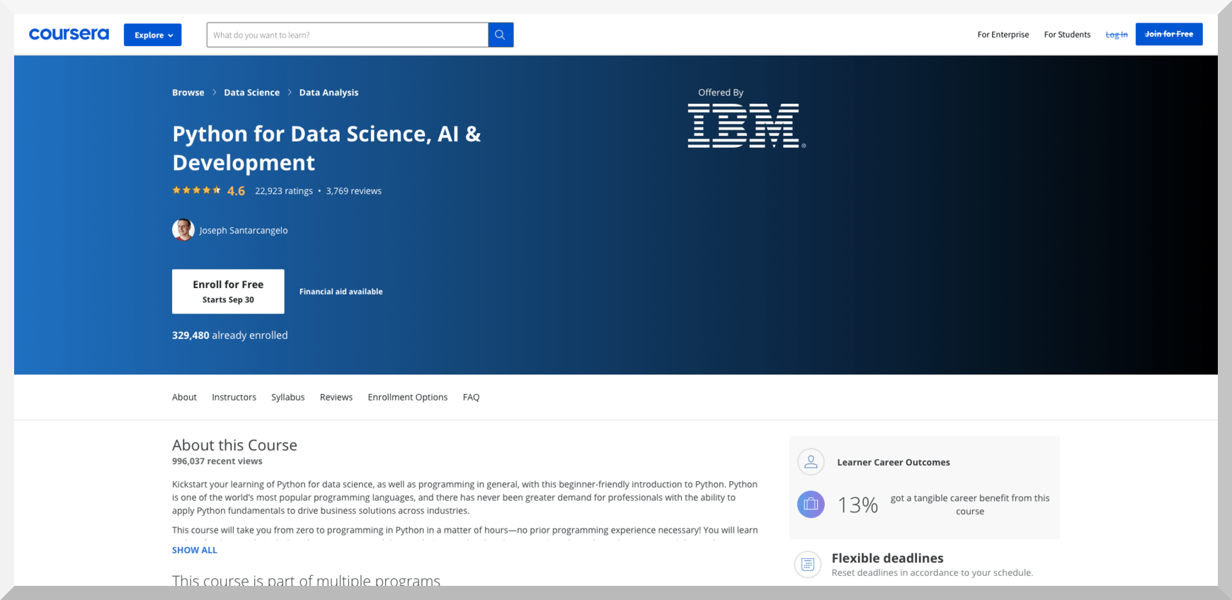 Python for Data Science, AI, and Development by IBM – Coursera