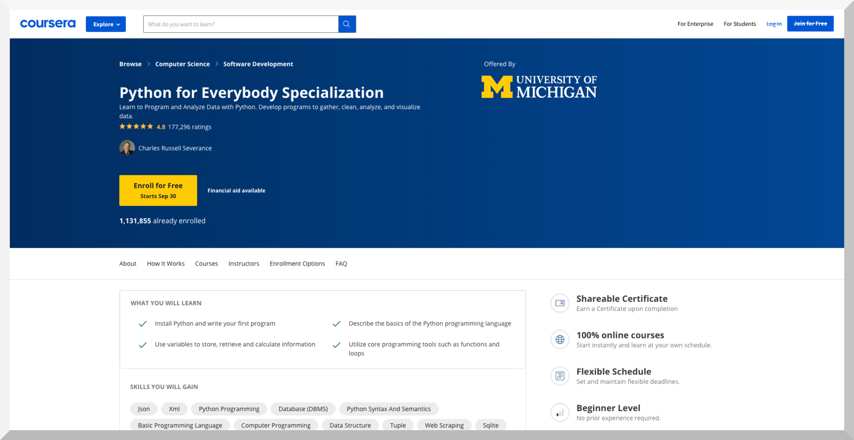 Python for Everybody Specialization by University of Michigan – Coursera