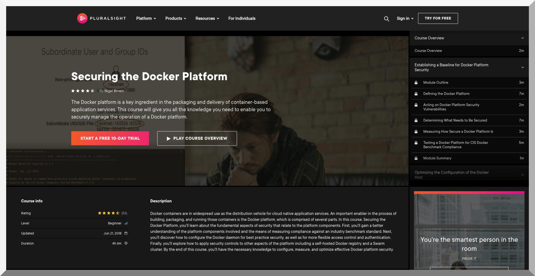 Securing the Docker Platform – Pluralsight