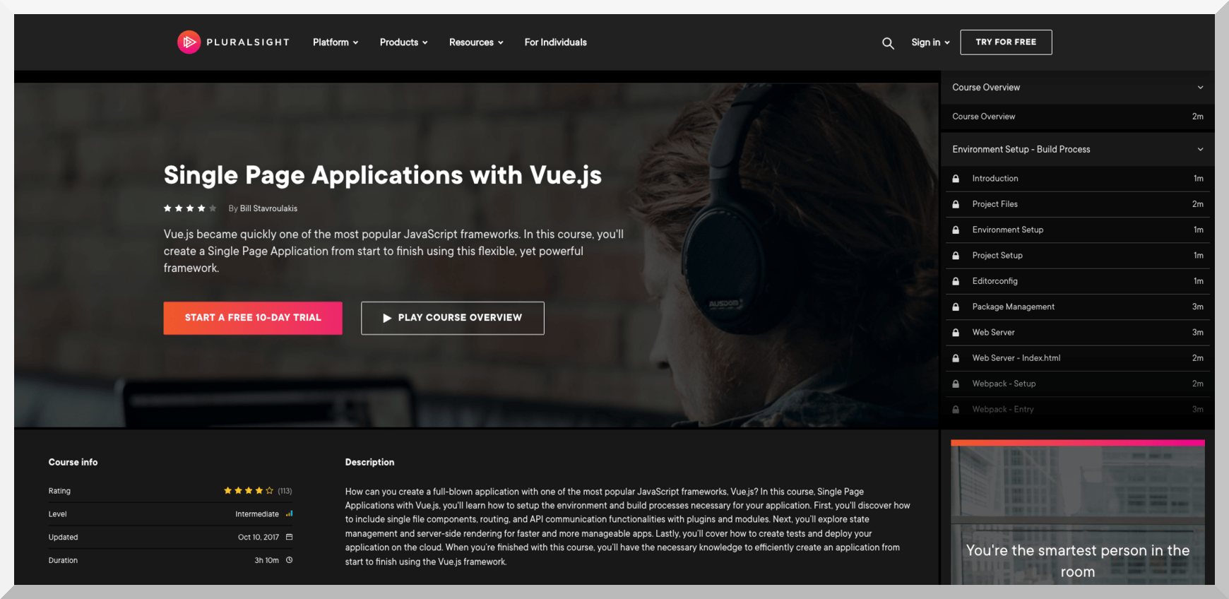 Single Page Applications with Vue.js – Pluralsight